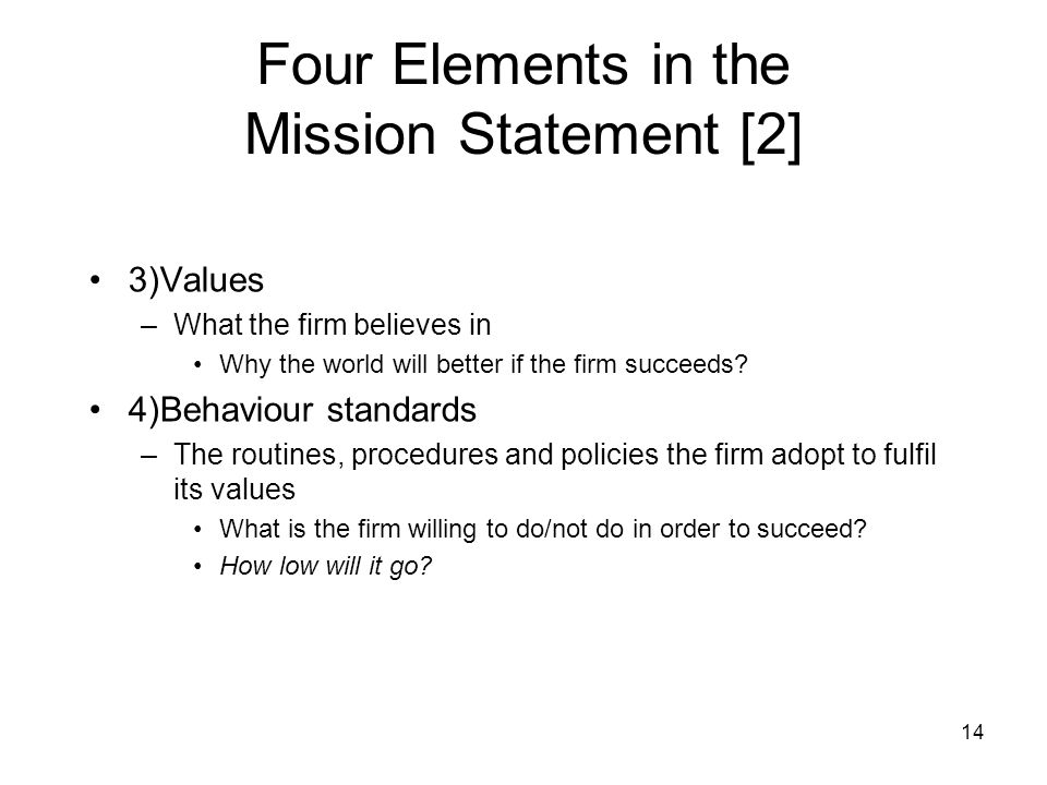 Four Elements in the Mission Statement [2]
